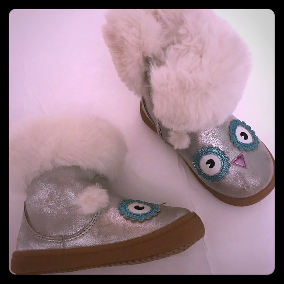 Cat /& Jack Toddler Girls Tallis Glittery Silver Owl Fashion Boots Faux Fur SZ 7
